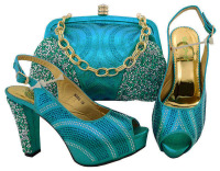 Latest Blue Women Shoe and Bag Set In Italy Matching Shoe and Bag Set for Wedding African Matching Shoe and Bag Italian In Women
