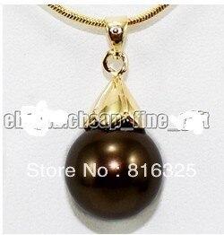 LIVRAISON GRATUITE>> 18 K Jaune Or Plaque Chocolat Shell Perle Collier Pendentif Chaîne Gratuite