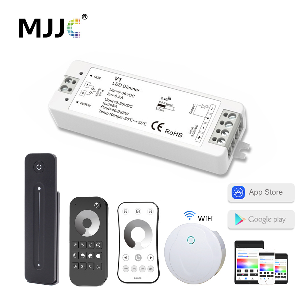 LED Dimmer Switch 12V 24V PWM 2.4G LED Touch RF Wireless Remote 5V 36V Smart Wifi Dimmer Controller For Single Color LED Strip
