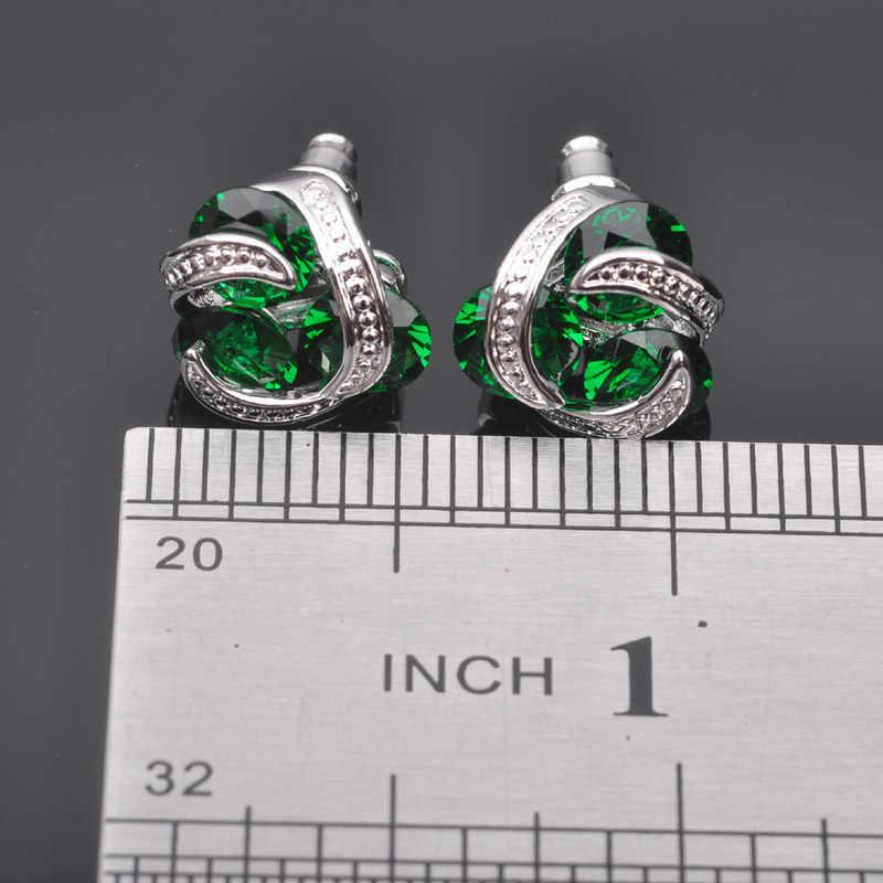 คลาสสิกสีเขียวCubic Z Irconiaสำหรับผู้หญิงประทับเงิน925เครื่องประดับชุดสร้อยคอจี้ต่างหูแหวนQZ0173จัดส่งฟรี