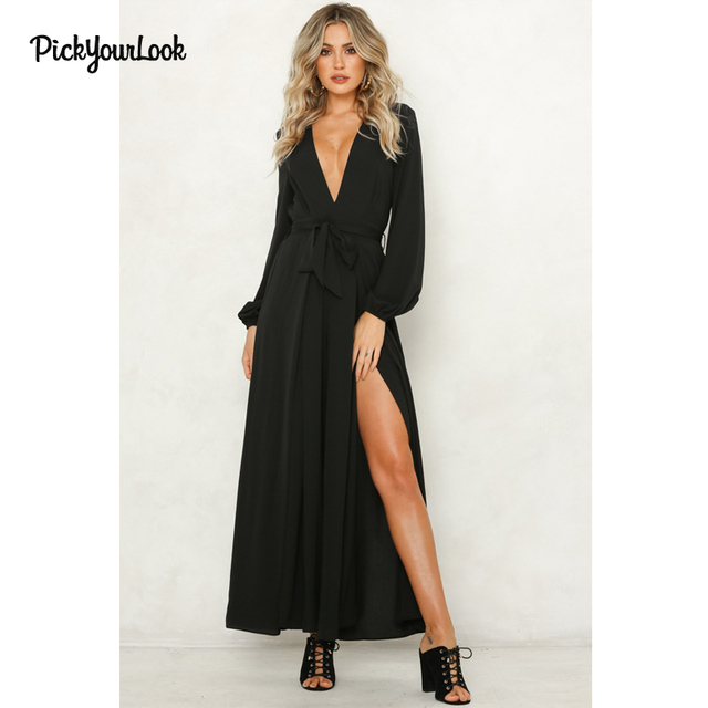 83ff9a3e8be PickyourLook Women Jumpsuits Rompers Elegant Wide Leg Pants V Neck Sexy jumpsuit  Long Sleeve Autumn Jumpsuits Streetwear Romper