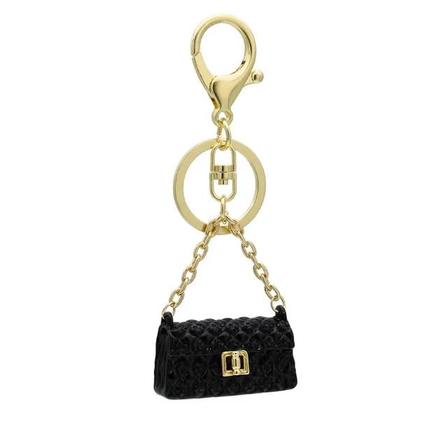 Linnor Lovely DIY Bag Crystal Keychain Enamel Charm Keyring for Women Party Gift HandBag Purse Bag Buckle Pendant Key Chain Ring