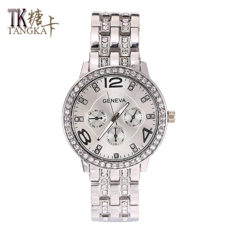 d4f9117f550 2017 Hot Sale Da Moda relógios das Mulheres clássico Rodada Relógio De  Quartzo De Cristal relógio de aço inoxidável relógios de Pulso dos homens  Desgaste ...