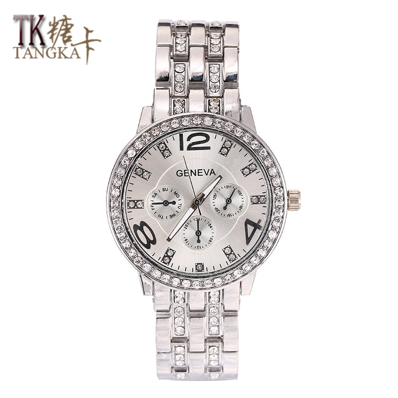 2017 Hot Sale Fashion Women's watches classic Round Crystal Quartz Watch stainless steel clock men's Wrist watches Wear jewelry