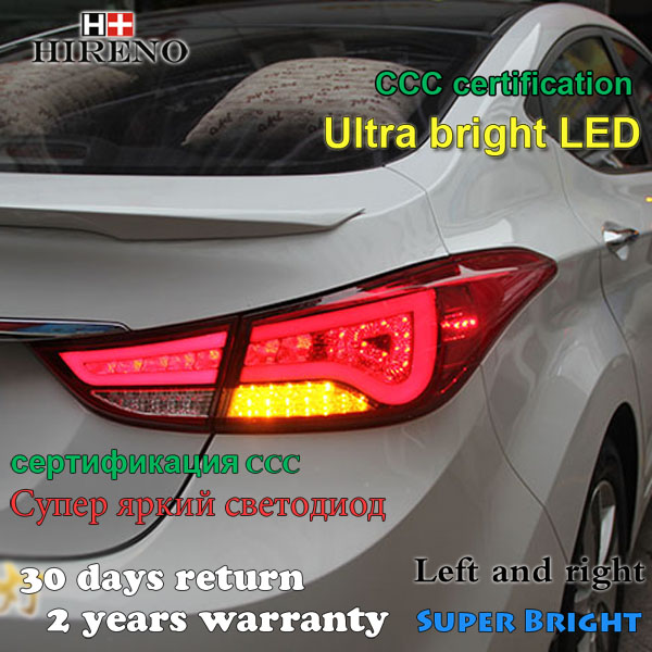Hireno Tail Lamp for Hyundai Elantra 2012 2013 2014 LED Taillight Rear Lamp Parking Brake Turn Signal Lights [ free shipping ] brand new led rear light led back light benz style tail lamp for hyundai elantra 2012