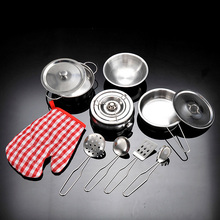 11 PCS Stainless Steel Kids Simulation Pots Pans Spoons Cookware Kitchen Ware Accessories Toy Pretend Playset Role Play Toy Kit