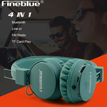 Original FineBlue 4in1 Wireless Bluetooth Headphone 3D Stero Deep Bass headset TF card MP3 player Fm radio line-in HD Mic(China)