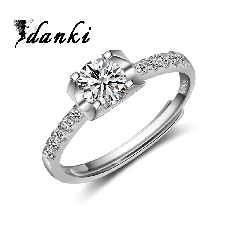 Danki Featured Brand 925 Sterling Silver Ring Classic Jewelry Engagement  Ring Band Hearts and Arrows Cubic Zircon Halo Ring Band