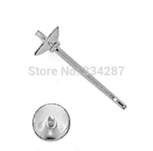 925 Sterling Argent 3mm Perle Tasse Boucle D'oreille Post 10 pcs