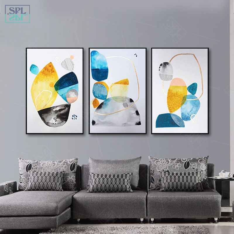 SPLSPL Abstract Geometric Canvas Art Print Painting Poster, Print Wall Pictures For Home Decoration Living Room Ornamentation