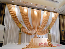 Luxury Gold Wedding Backdrop for Wedding Decoration Wedding Drape and Curtain with Detachable Swag
