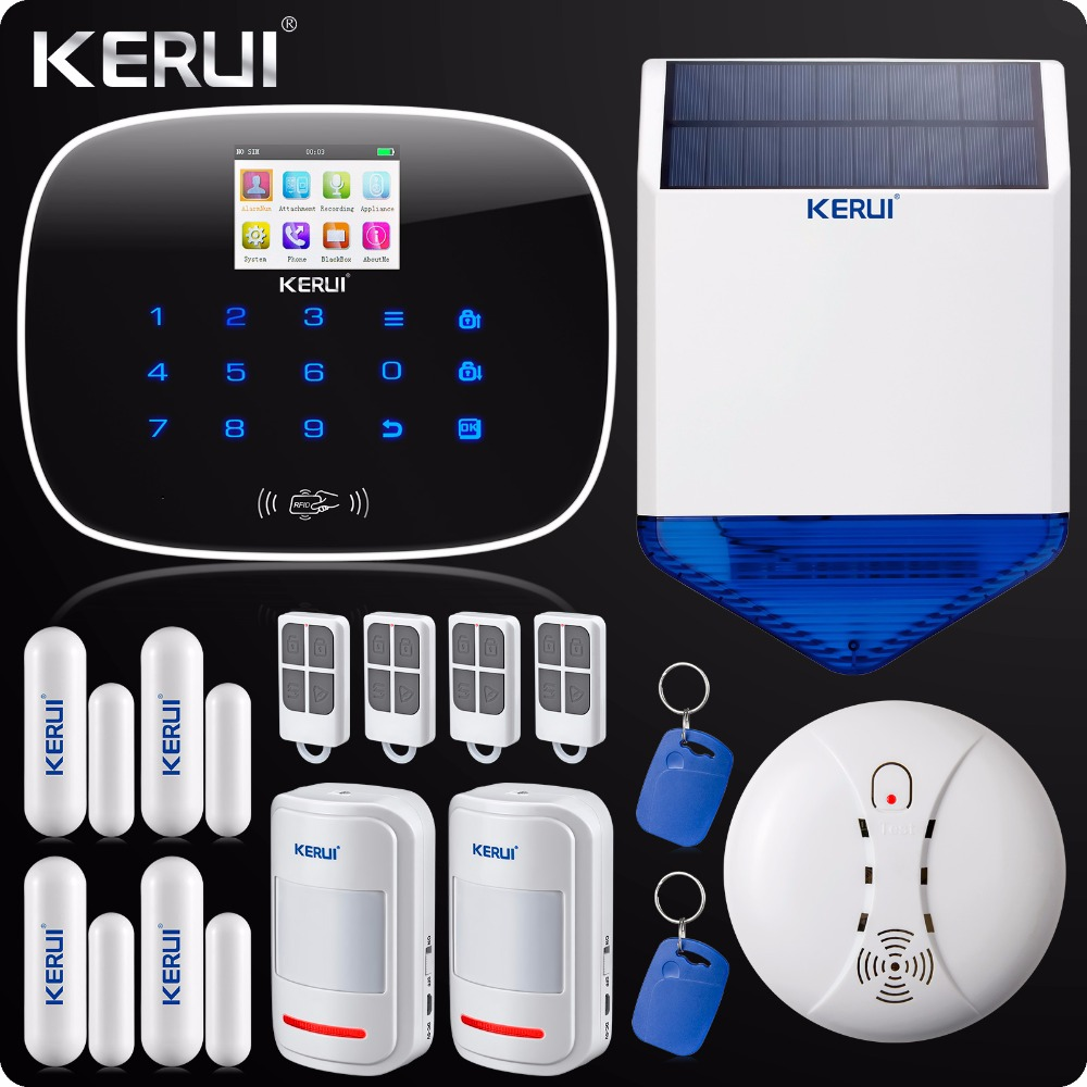 Iphone Android App GSM Home Security Alarm System SMS RFID Touch Keypad  Outdoor Solar Siren Door Open Reminder Smoke Detector wireless smoke fire detector for wireless for touch keypad panel wifi gsm home security burglar voice alarm system