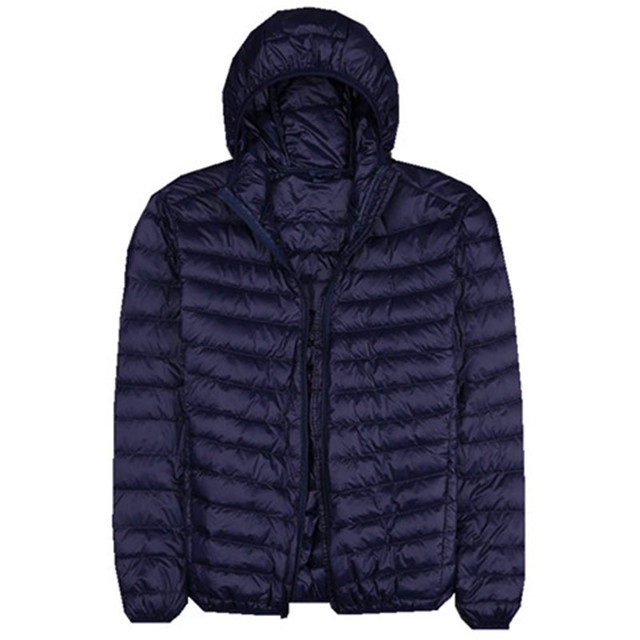 Autumn New Mens Clothes Fashion Boutique Solid Color Ultra-thin Light Comfortable Casual Hooded White Duck Down Jacket Men Coat
