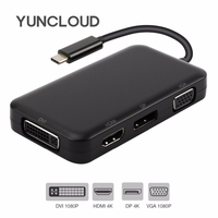 YUNCLOUD USB Splitter Type C 3.1 Hub to DisplayPort HDMI DVI VGA Adapter for Macbook Samsung S9/S8+ Huawei P20 USB Docking Hub