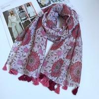 Sunflower Women Pink Scarf Viscose BOHO Stole Journey W Tassels Bandana Brand New