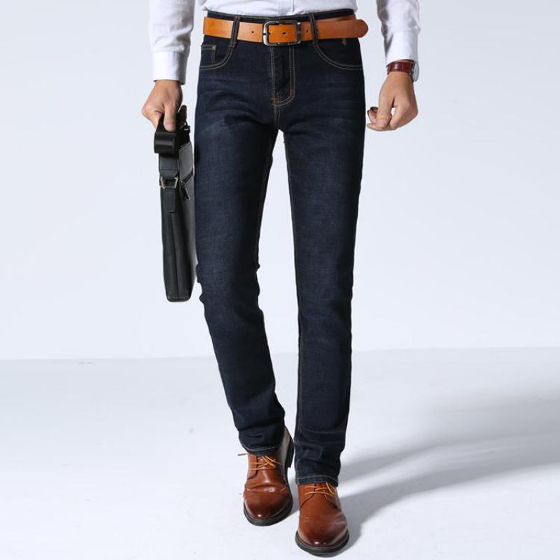 2019 Baumwolle Mitte Gewicht Klassische Stretch Jeans Männer Jeans Klassische Berühmte Marke Stretch Blau Gerade Dünne Jeans Für Mann SchüTtelfrost Und Schmerzen