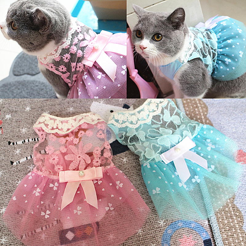 Summer Pet Cat Clothes Lovely Cat Dress Lace Wedding Skirts Small Cat Dresses Spring Clothing For Pets Party Costume 12b28q