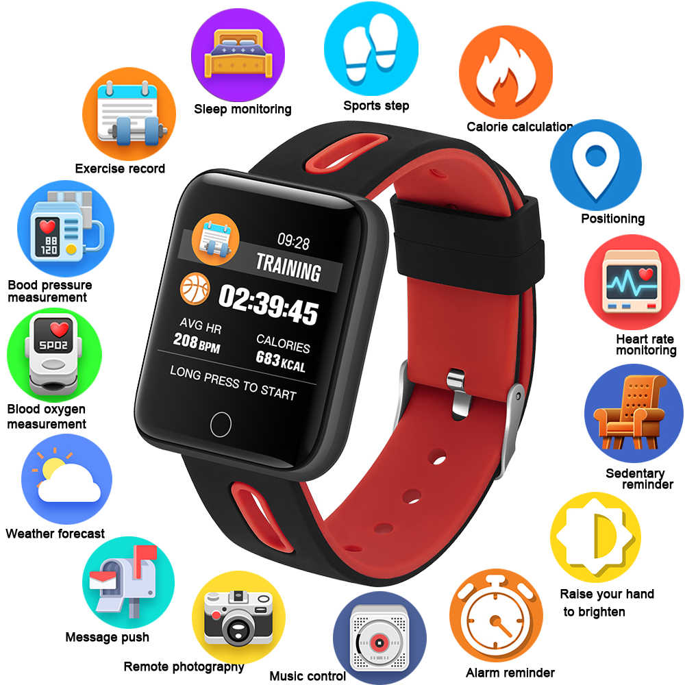 GEJIAN Fitness Smart Watch Men Women Pedometer Heart Rate Monitor Waterproof IP68 Swimming Running Sport Watch For Android IOS