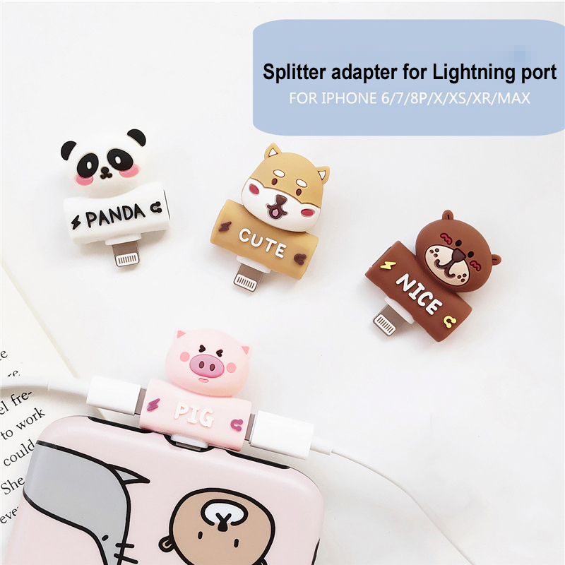 2 in 1 Earphone Headphone Splitter Adapter for Lightning Charging Ports Cartoon Charger Music Converter for iPhone 7/8/X plus