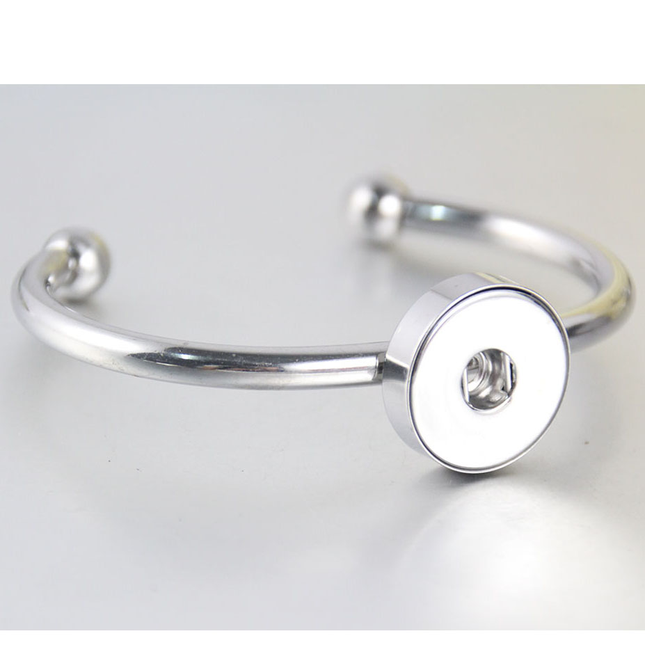 18Mm Snap Button Bangle Bracelet Hypo-allergenic Stainless Steel Snap Bracelet Fit Snap Button Charms 5Pcslot