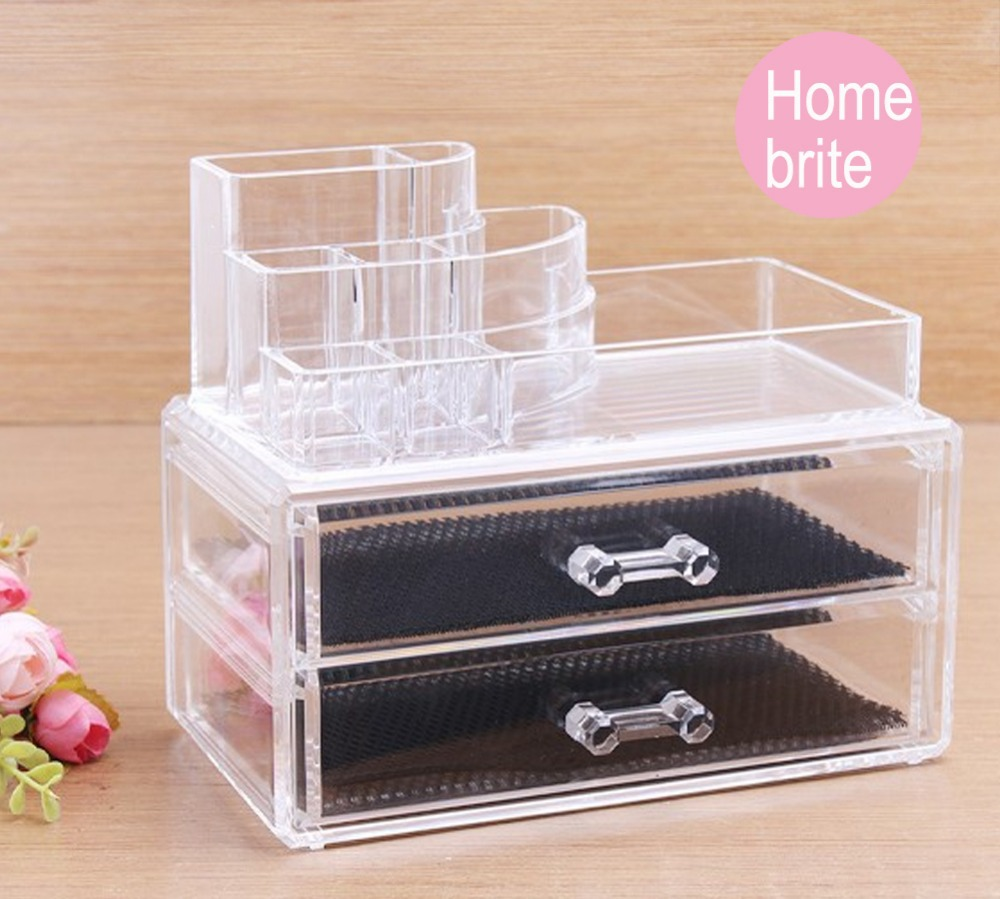 Tin bread box drawer insert - Chic Acrylic Cosmetic Container Organizer Drawer Makeup Case Storage Insert Holder Box 2 Drawers With 1