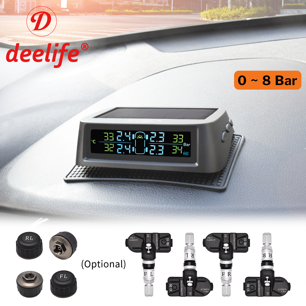 Deelife Solar TPMS Car Tire Pressure Monitoring System Alarm Auto Smart Control External Internal Wireless Tyre Pressure Sensor