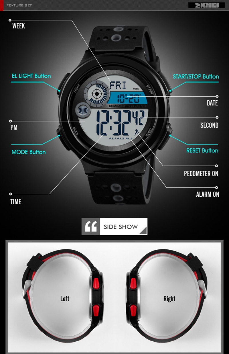 Watches Mens Sports Watches 5atm Digital Outdoor Men Military Watch El Backlight Compass Led Wristwatches Reloj Hombre 2018 Skmei Men's Watches