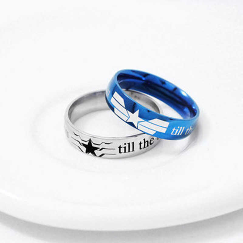 fashion Marvel Avengers ring Anime related America captain symbols Titanium Steel lovers finger ring jewelry cute fashion gift