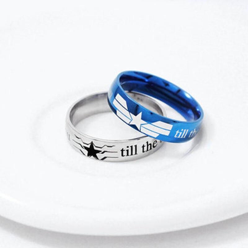 Moda marvel avengers anel anime relacionados américa capitão símbolos de titânio aço amantes dedo anel jóias bonito presente da forma