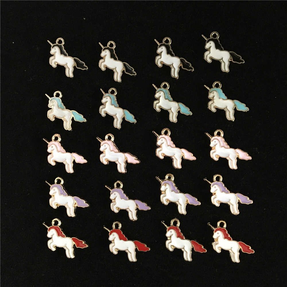 20PCS High Quality Gold Color Zinc Alloy Colorful Enamel Mini Unicorn Charms Handmade Pendant DIY Earrings Necklace Findings