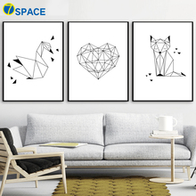 Geometry Swan Fox Heart Nordic Posters And Prints Wall Art Canvas Painting Animal Black White Pictures Kids Room Decor