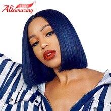 Али удивительные волосы короткий боб парик бразильский Волосы remy прямые Синтетические волосы на кружеве человеческих волос парики для черный Для женщин голубой цвет кружева парик
