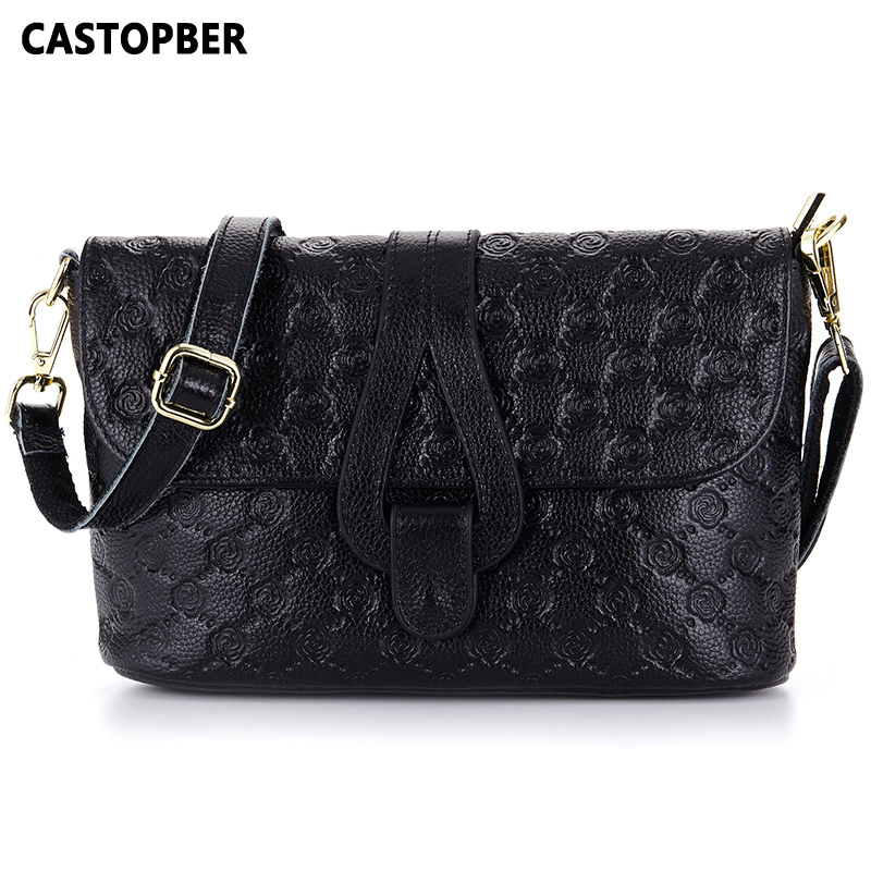 ФОТО Genuine Leather Bags Women Real Leather Famous Brand Full Grain Leather Cowhide Women's Messenger Embossed Bag High Quality Lady