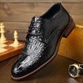 Hot Sale Men's shoes Classic Crocodile Embossed Genuine Leather Flat Dress Shoes Men Shoes Luxury Brand Flat Oxford Shoes Flats