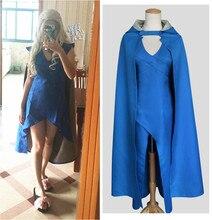 Game of Thrones Daenerys Targaryen Mãe Traje de Dragões vestido Azul com cabo qualquer tamanho frete grátis