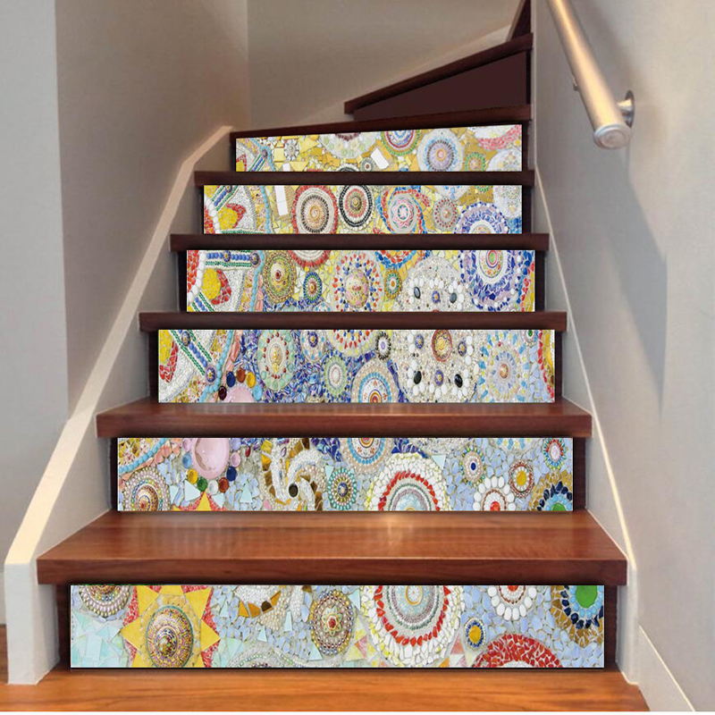6pcs/Set Self Adhesive Stairway Mural Wallpaper Removable Wall Decals European Mosaic Wa ...
