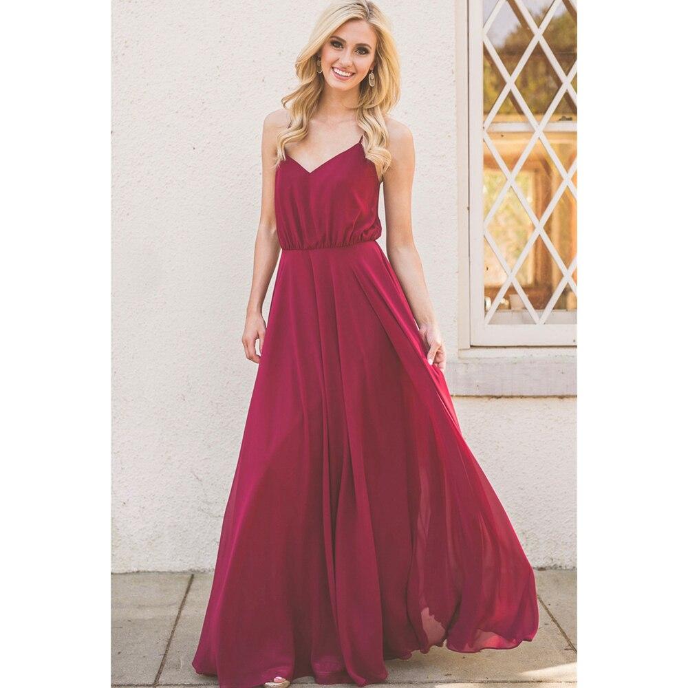 2019 New Burgundy Chiffon   Bridesmaid     Dresses   Spaghetti Strap A Line Floor Length Summer Wedding Party Gowns Cheap Plus Size