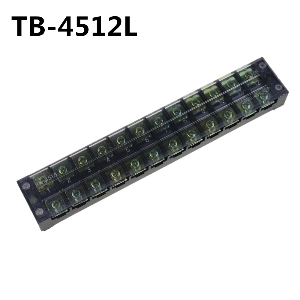 5Pcs TB-4512 600V 45A 12-Position Double Row Covered Screw Terminal Strip 5pcs plastic black tb 1512 barrier terminal block 600v 15a 12 position 12p dual rows covered screw terminal blocks mayitr