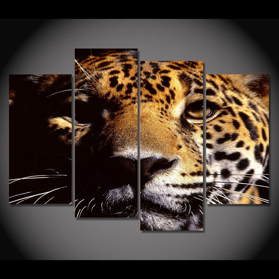 Jaguar Face: Print Canvas Painting Jaguar Face Shadow Wall Art Picture