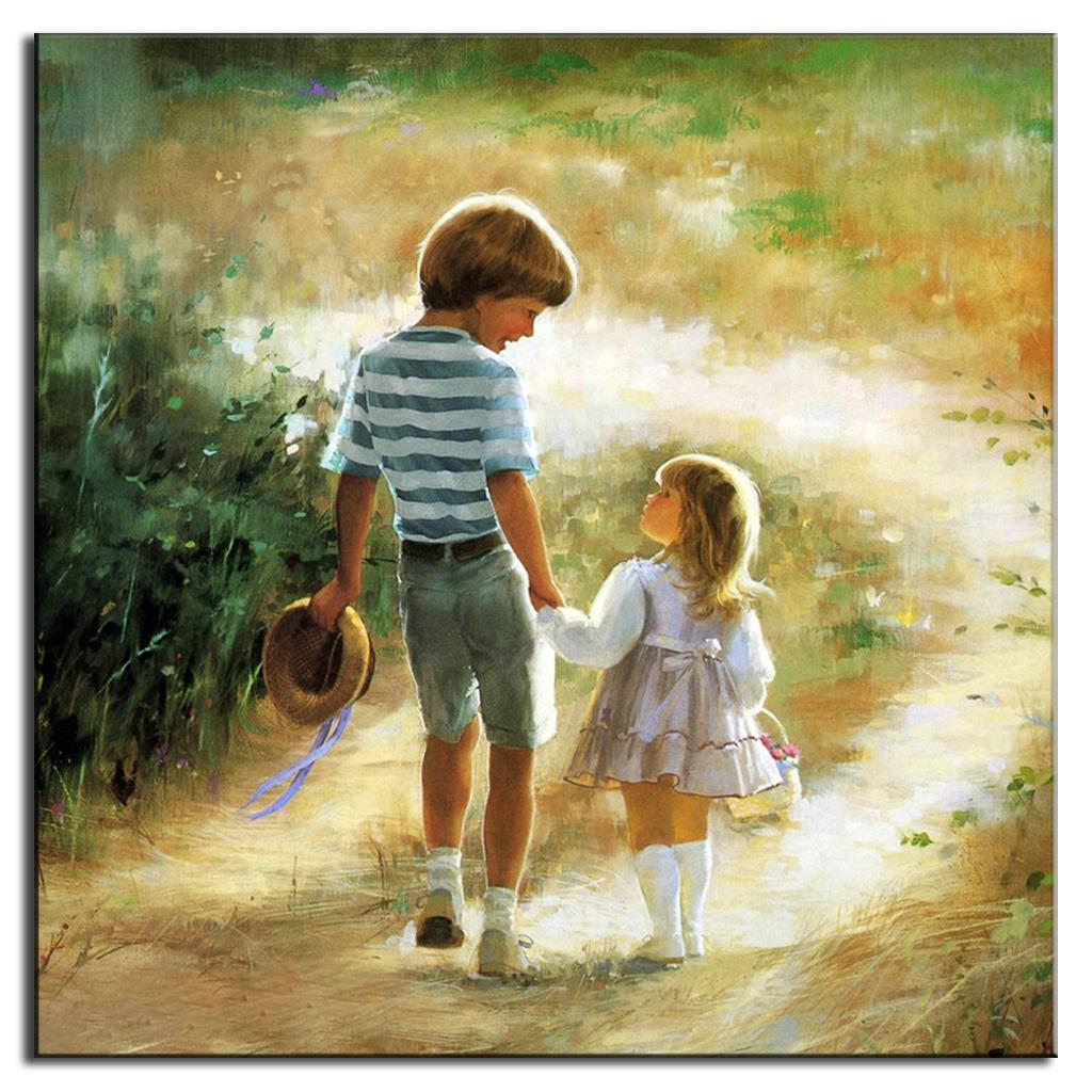 Picture For Brother Sister: Unframed Canvas Painting Portrait Oil Painting On Canvas