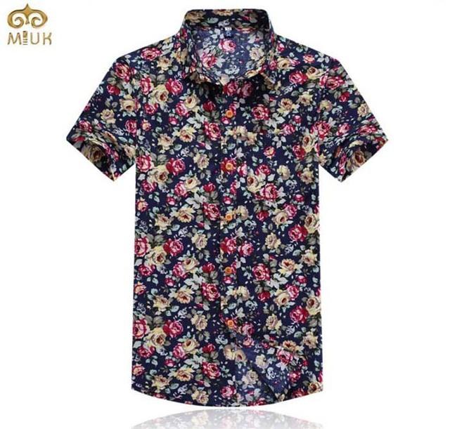 MIUK Impressão Floral Camisa Dos Homens Camisas de Manga Curta Tamanho Grande 5XL Moda Praia Algodão Fino Turn-down Collar Verão Top Tees