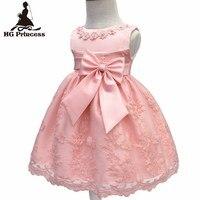 משלוח חינם בטנת כותנה תינוקות שמלות תחרת 2017 הגעה לניו אדום יום הולדת שמלת תינוק ילדה 1 שנה מסיבת קשת שמלת פעוטות