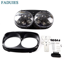 FADUIES 5.75 inch Motorcycle Led Headlight 5.75″ Dual Daymaker Projector Headlamp For 2004-2013 Harley Davidson Road Glide