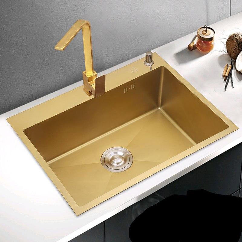 304 cuisine en acier inoxydable évier doré bol unique Nano-évier plate-forme à auge unique fait à la main petite taille piscine de lavage