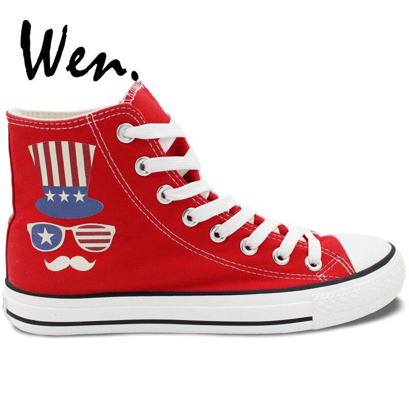 Wen chaussures en toile rouge Design tongs fête de l'indépendance américaine hommes femmes baskets hautes Plimsolls anniversaire cadeaux de noël - 2