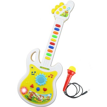Children Kids Plastic Colorful Guitar Musical Instrument Toy with Microphone Education Toy Quantity 1 Random Color