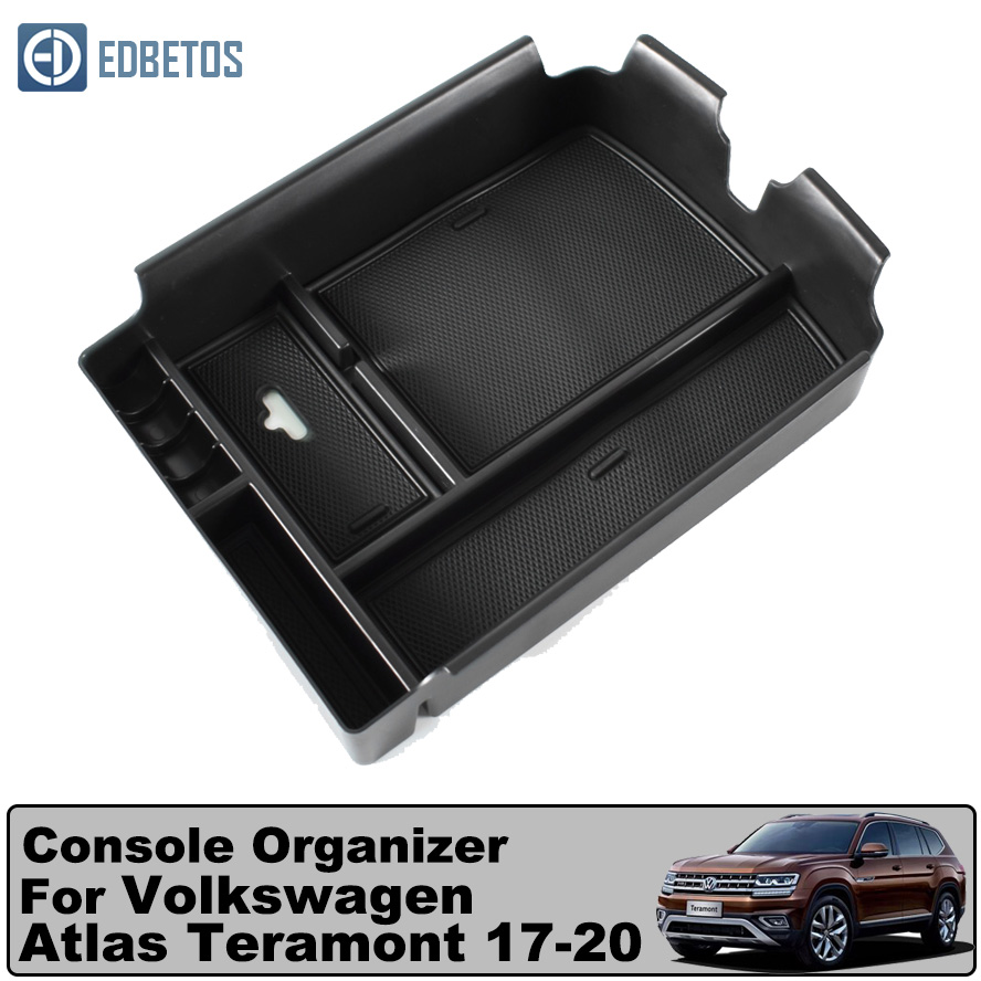 Black Interior Armrest Storage organizer Box For VW Teramont Atlas 2017-2018