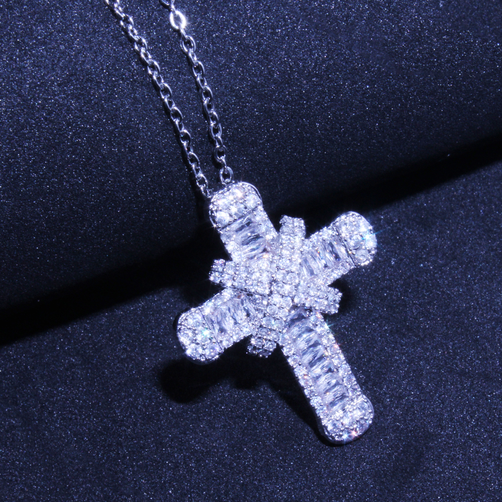 Shiny Cubic Zirconia Silver Plated Cross Pendant Necklaces For Women Trendy Christian Jesus Zircon Necklace Jewelry Gift
