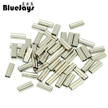 100pcs/lot Barrel Crimping Sleeves copper double tube sea fishing wire sleeve fishing line tube inside Diameter 1.4mm-2.2mm
