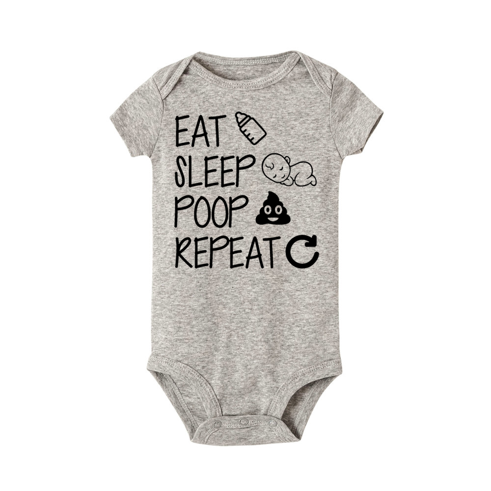 Eat Sleep Poop Repeat Baby Bodysuit Newborn Infant Girls Boy Short Sleeve Funny Cotton bodysuits Jumpsuit Outfit Clothes Baby цена